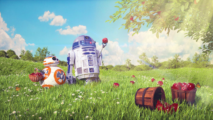 R2D2 and BB8 Picking Apples